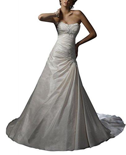 Perlen Liebsten Taft BRIDE Prinzessin Brautkleider Kapelle Zug Elegante Elfenbein Hochzeitskleider GEORGE cgEWFxF