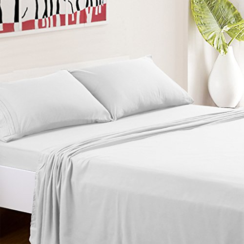 TASTELIFE Bed Sheets Set Hotel Luxury Platinum Collection 1800 Series Bedding Sheet Set Deep Pockets Wrinkle & Fade Resistant Hypoallergenic-4 Pcs ... (White, Full)