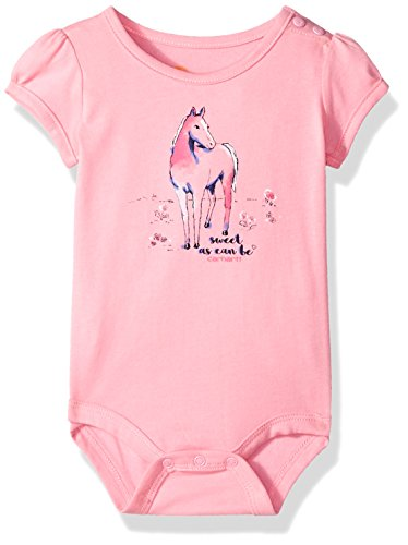 Carhartt Baby Girls Short Sleeve Bodyshirt, Rose Bloom, 6M