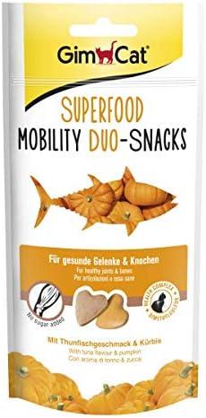 GimCat Superfood Duosnacks Mobility Kattenabs zonder toegevoegde suiker voor sterke botten en gewrichten 8 verpakkingen 8 x 40 g
