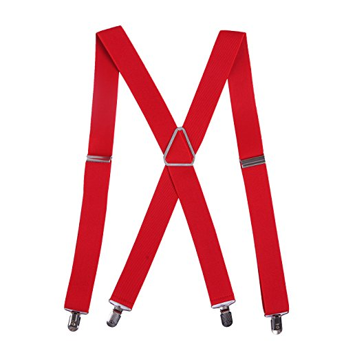 HDE Men's Big and Tall X-Back Clip Suspenders 1.5' Wide Adjustable 55' Long (Red)