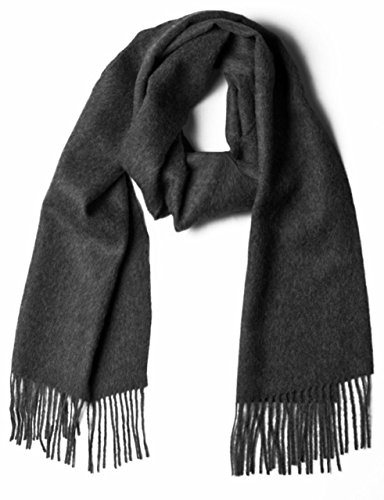 100% Pure Baby Alpaca Scarf, Solid Natural Dye-free Colors (Charcoal)