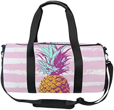 Cooper girl Stripe Watercolor Pineapple Duffels Bag Travel Sport Gym Bag 63248675af6b6