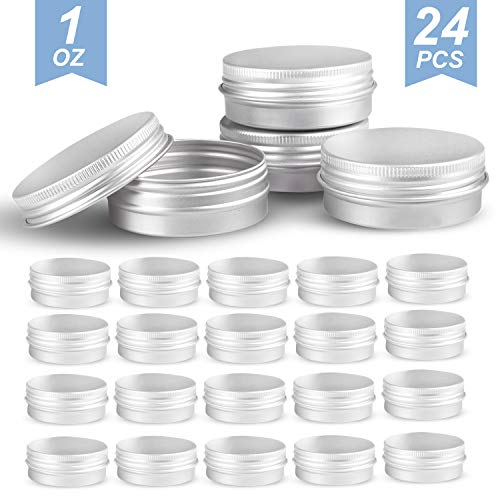 Round Silver Aluminum Metal Tin Storage Jar Containers with Secure Screw Top Lids for Cosmetic, Lip Balm,DIY Salves, Candles,pill, Skin Care and tea, 24pcs