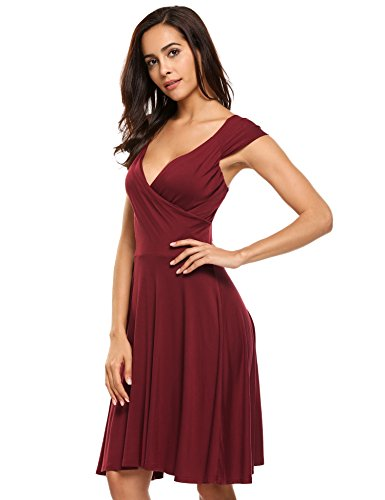 Hotouch Sleeveless Gorgeous Casual Loose Tunic Dress (Wine Red S) by Hotouch (Image #1)