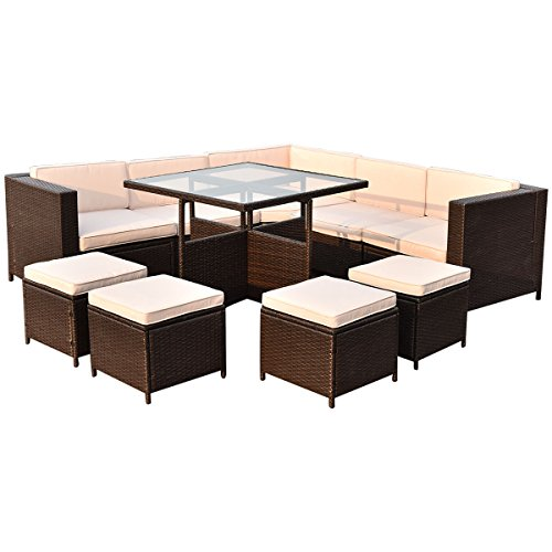 TANGKULA Patio Furniture Set 10 Piece Outdoor Garden Wicker Rattan Sectional Sofa Conversation Set Dining Table Set Chat Set, with 4 Ottomans and Tempered Glass Table (Brown) For Sale