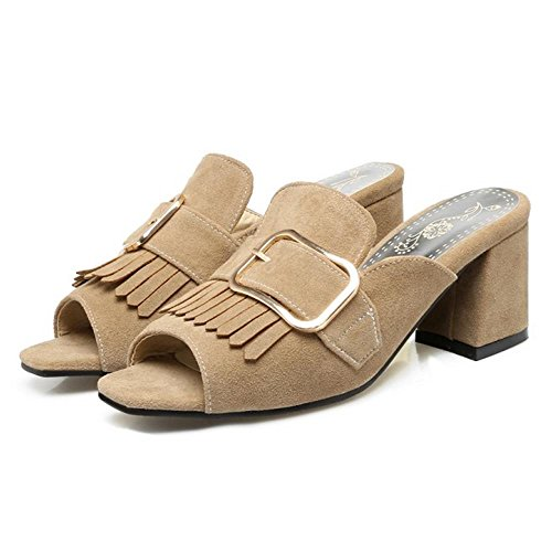 Women Mules Apricot Fringes Block Heel Coolcept Fashion 4BwxUqf4d