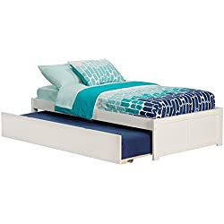 Atlantic Furniture Concord Bed with Flat Panel Foot Board and Trundle Bed, Twin, White