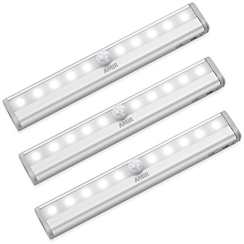 AMIR Motion Sensor Lights, 10-LED DIY Stick-on Anywhere Battery Operated Portable Wireless Cabinet Night/Stairs/Step/Closet Light Bar with Magnetic Strip (White, 3 Pack)