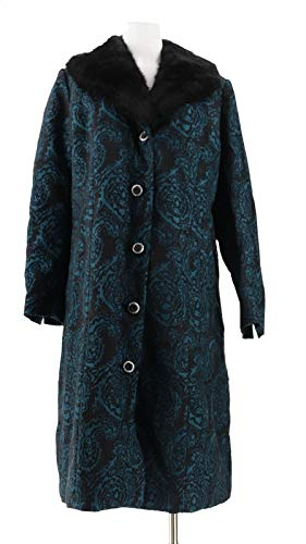 Dennis Basso Brocade Coat Removable Faux Fur Collar Pine Black M New A297428