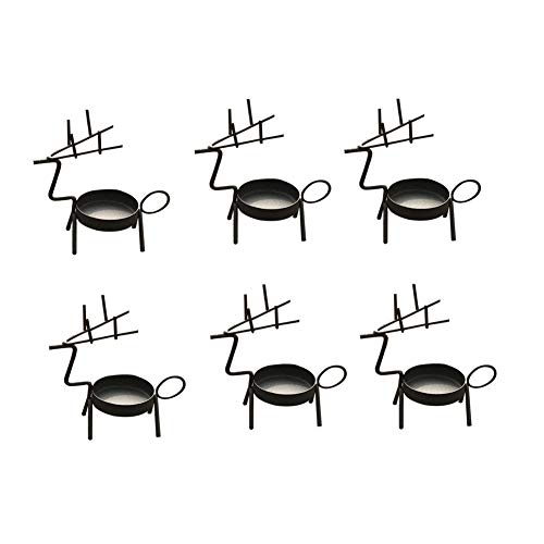 (smtyle Reindeer Decorations Tealight Candle Holders Votive Standing Black Metal Set of 6 Best for)