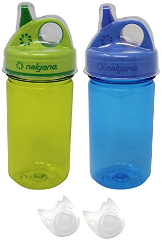 Rusty Crank Bundle Nalgene Kids Water Bottles and Replacement Valves (Blue/Green)
