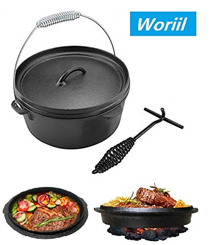 Woriil 5 Quart All-Round Dutch Oven【Dual Function : Lid Skillet】【with Lid Lifter】【Pre Seasoned】 Cast Iron Dutch Oven for Camping Cooking BBQ Baking