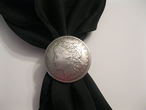 Cowboy Western Scarf Slide - Morgan Dollar (Reproduction) with Scarf (Black, White, or Red) (Black)