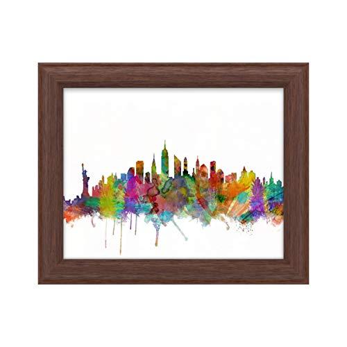 Trademark Fine Art New York City Skyline by Michael Tompsett, Wood Frame 11x14, Multi-Color
