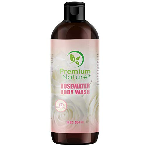 Rosewater Moisturizing Natural Body Wash - Made With Pure Rose Hybrid Flower Water Bath Dry Skin Washing Soap Heals Inflammations Prevents Acne & Eczema For Women & Men Deep Moisture Daily Shower Gel