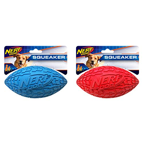 Nerf Dog (2-Pack) Tire Squeak Football Dog Toy, Red/Blue, Medium