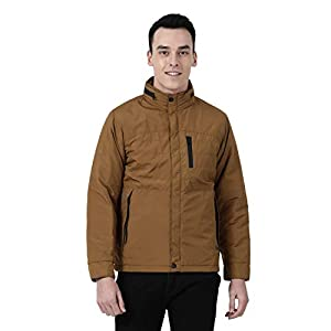 Monte Carlo Brown Solid Cotton Polo Collar Jacket