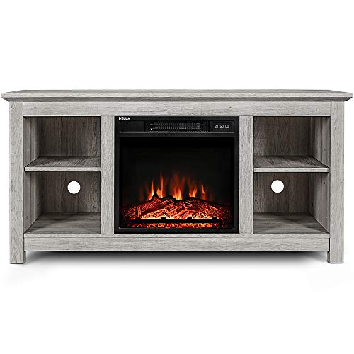 BELLEZE 50″ Kenton Wood TV Stand Console for TV's Up to 55″ W/Fireplace Heater, Sargent Oak