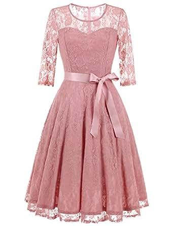 Dressystar 0017 Women's Elegant Floral Lace Dress 3/4 Sleeves Bridesmaid Midi Dresses Illusion Neckline Blush S