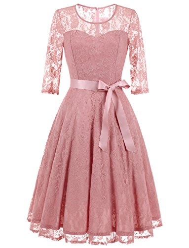 Dressystar 0017 Women's Elegant Floral Lace Dress 3/4 Sleeves Bridesmaid Midi Dresses Illusion Neckline Blush (Illusion Formal Dress)