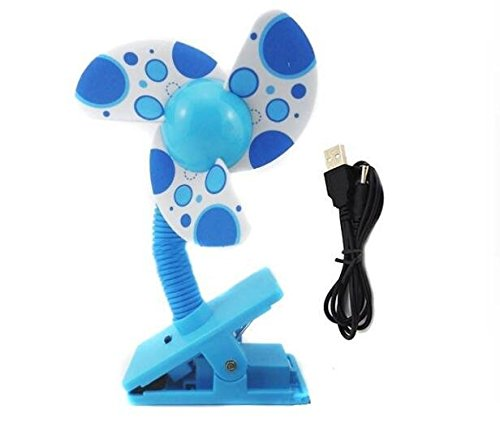 Carriage Blade - Alytimes Safety Baby Clip-On Mini Stroller Fan USB Battery Dual Crib Cooling Fans -Blue