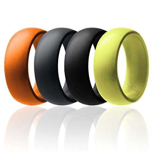ROQ Silicone Wedding Ring for Men Affordable Silicone Rubber Band, 4 Pack - Black, Grey, Yellow, Orange - Size 8]()