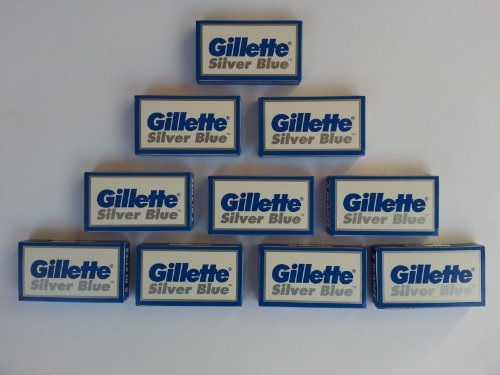 50 Silver Blue Double Edge Stainless Razor Blades Made in ()