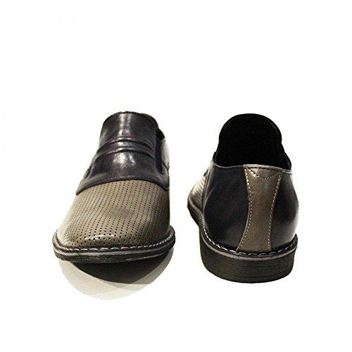 Modello Ladislao - Cuero Italiano Hecho A Mano Hombre Piel Gris Mocasines y Slip-Ons Loafers - Cuero Cuero repujado - Ponerse