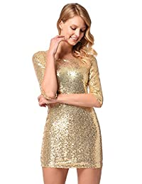 Ruiyige Women's Half Sleeve Sparkly Sequin Dress With Deep V Back Clubwear Dress