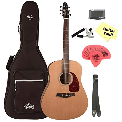 Seagull S6 Classic Acoustic-Electric Guitar With B-Band M-450T with Seagull Dreadnought Gig Bag, Tuner, Strap, Capo, Picks, and Polishing Cloth