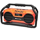 Pyle Industrial BoomBoX Bluetooth Stereo Speaker, Rugged Water-Resistant Radio Boom Box, Rechargeable Battery, MP3/USB/SD/AUX-Orange