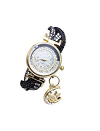 Mostsola Fashion Three Color Winding Watchband Moon Pendant Ladies Crystal Watches (F)