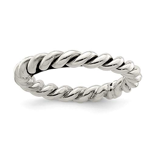 Diamond Yurman Ring David - 925 Sterling Silver Twisted 3mm Womens Band Ring Size 6.00 Fine Jewelry Gifts For Women For Her