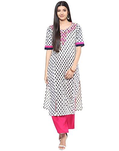 Jaipur Kurti Indian Women's Cotton Embroidered Kurta And Palazzo Set Small Off-White & Rani - Kameez Cotton Off White Salwar