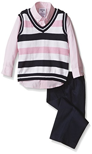3 Piece Sweater Vest Pants - IZOD Baby Boy 3 Piece Sweater Vest and Pant Dresswear Set, Pink, 18 Months