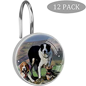 imobaby 12 Pcs Beagle Border Collie Shower Curtain Hooks,Round Crystal Glass Shower Curtain Hooks for Bathroom and Living Room Decorative 1