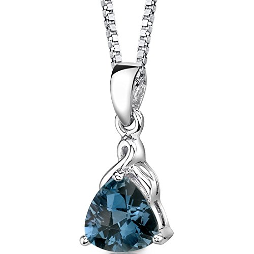 London Blue Topaz Pendant Necklace Sterling Silver Rhodium Nickel Finish 2.00 Carats Trillion Cut (Trillion Gemstone Necklace)