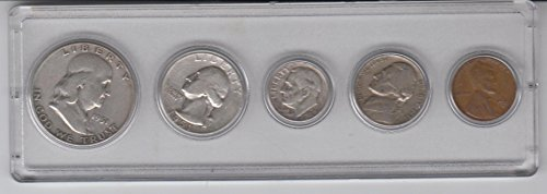 1951 Birth Year Coin Set (5) Coins - Silver Half Dollar, Silver Quarter, Silver Dime, Nickel, and Cent All Dated 1951 and Encased in a Plastic Display case Very Good -Fine