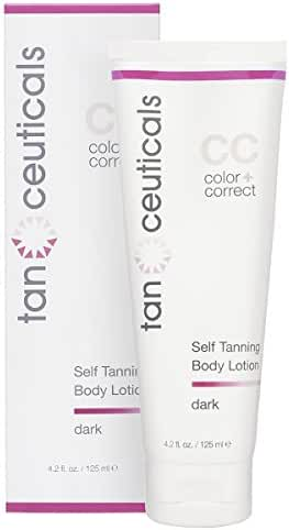 Tanceuticals #1 Rated Self Tanner - CC Self Tanning Lotion for Body Gives Natural, Long Lasting Sunless Tan - Fresh Coconut Scent and Full of Healthy Cosmeceuticals - Easy to Apply - Dark 4.2 oz