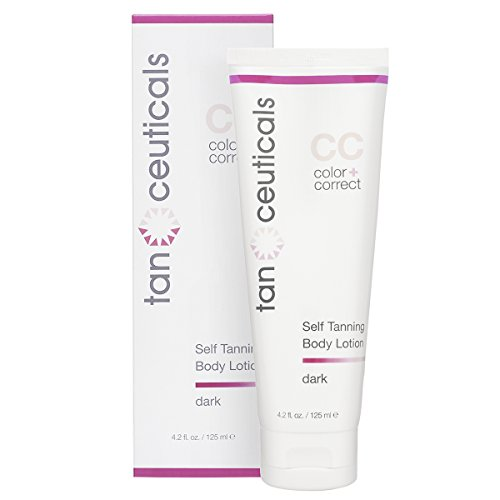 Over Self Tanner - Tanceuticals Self Tanner - CC Self Tanning Lotion for Body Gives Natural, Long Lasting Sunless Tan - Fresh Coconut Scent and Full of Healthy Cosmeceuticals - Easy to Apply - Dark 4.2 oz