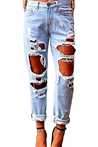 Women Destroyed Ripped Stretch Faded Ripped Slim Fit Skinny Denim Jeans (Destroyed Boyfriend Jean)