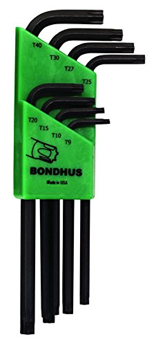 - Bondhus 32434 Set of 8 Tamper Resistant Star L-wrenches, Long Length, sizes TR9-TR40