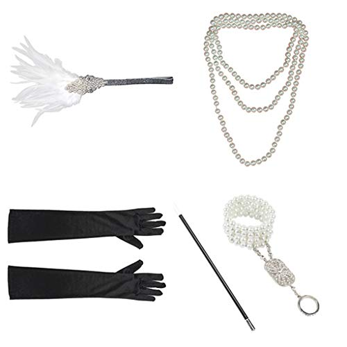 (〓COOlCCI〓 Women's Costume Accessory Sets,1926s Gatsby Accessories Set for Women,Costume Flapper Headpiece Headband White)