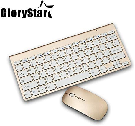 Calvas Black//Sliver//Gold 2.4ghz Wireless Keyboard and Mouse Combo USB Receiver Silent Computer Keyboard for Android Windows XP//7//8//10 Color: Gold Color
