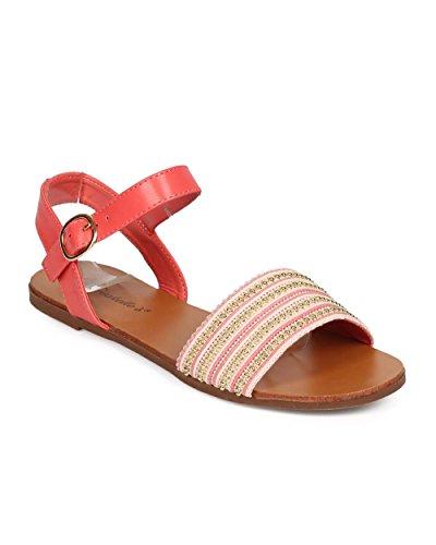 Breckelles Ed62 Femme Tissu Ouvert Orteil Boho Cheville Sangle Sandale - Pamplemousse
