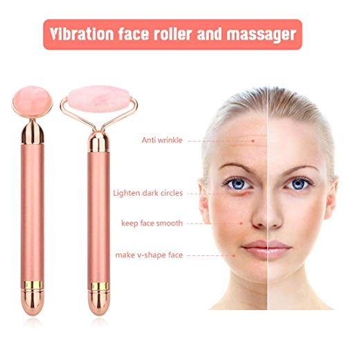 2-IN-1 Electric Jade Roller Facial Massager, Nature Rose Quartz Beauty Bar Face Roller Kit, Arm Eye Nose Massage Stone for Face Lift,Anti-Aging,Anti-Wrinkles,Skin Tightening,Face Firming