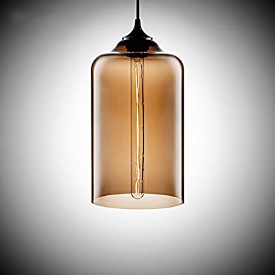 MKLOT Ecopower Edison Minimal 1 Light Pendant Shade Vintage with Clear Glass Shade Straight Glass Shape Hand Blown Art Glass