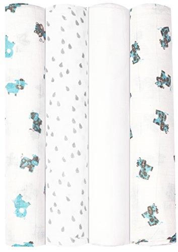 Babykin Organic Cotton Muslin Swaddle Blankets, Blue Farm Animals, 4 Piece Pack (Farm Receiving Blankets)