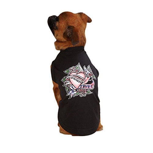 East Side Collection 14-Inch Cotton/Polyester Tattoo Dog Tees, Small/Medium, Heart
